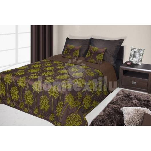 Francúzsky prehoz na posteľ hnedý s tmavo zelenými kvetmi