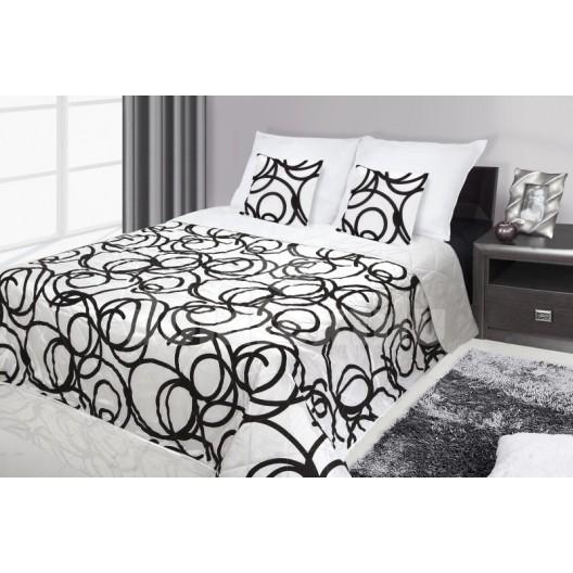 Francúzsky prehoz na posteľ biely s čiernymi krúžkami