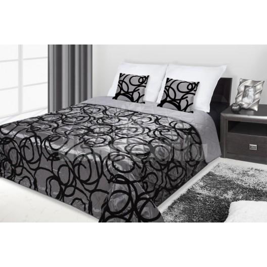 Francúzsky prehoz na posteľ sivý s čiernymi krúžkami