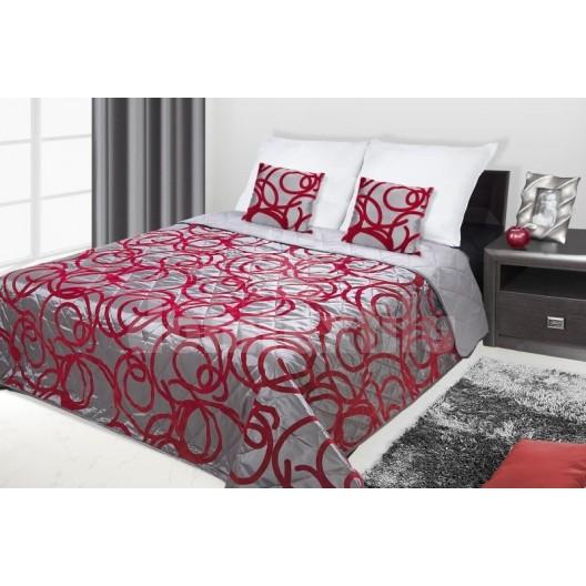 Francúzsky prehoz na posteľ sivý s červenými krúžkami