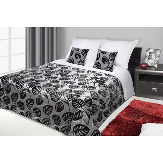 Francúzsky prehoz na posteľ sivý s čiernymi kvetmi