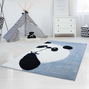 Originálny detský modrý koberec panda