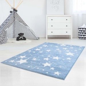 Kvalitný modrý detský koberec s hviezdami