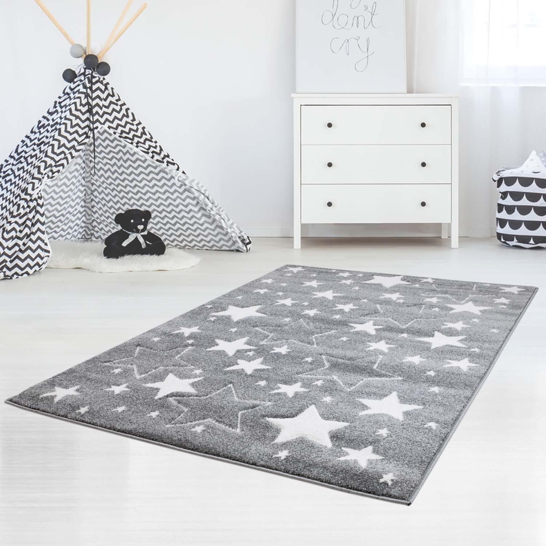 DomTextilu Sivý koberec do detskej izby s hviezdami 41998-197325