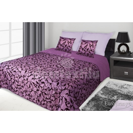 Francúzsky prehoz na posteľ fialový s čiernym motívom