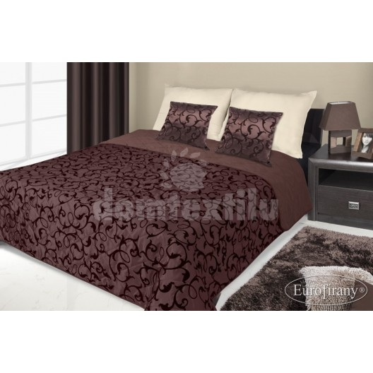 Francúzsky prehoz na posteľ hnedý s čiernym vzorom