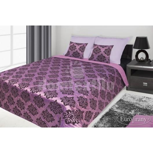 Francúzsky prehoz na posteľ fialový s čiernym vzorom