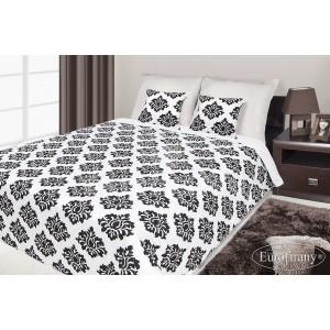 Francúzsky prehoz na posteľ biely s čiernym vzorom