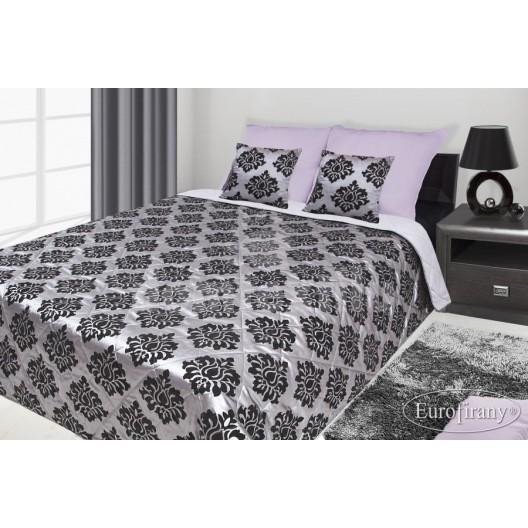 Francúzsky prehoz na posteľ sivý s čiernym motívom