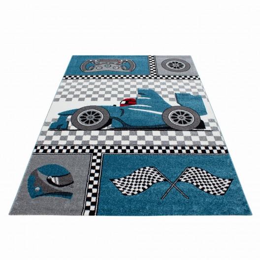 Modrý koberec pre chlapcov do detskej izby formula
