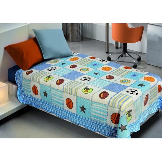 Farebný prehoz na detskú posteľ modrý so vzorom