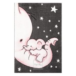 Detský sivý koberec so sloníkmi