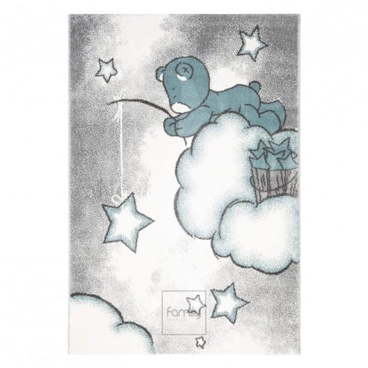 Roztomilý sivo modrý detský koberec na hranie pre chlapcov