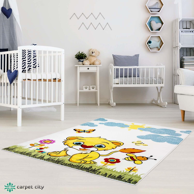 DomTextilu Dokonalý detský krémový koberec do detskej izby levíča 42021-197396