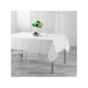 Sviatočný biely obrus s decentným strieborným vzorom 150 x 300 cm