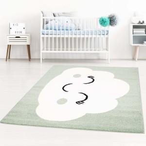 Pastelovo zelený koberec do detskej izby na hranie spiaci mráčik