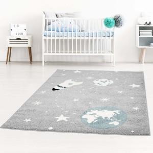 Kvalitný detský sivý koberec vesmír