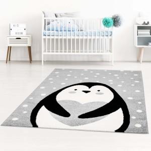 Sivý kvalitný koberec do detskej izby tučniak