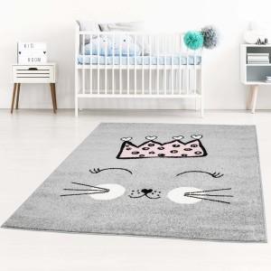Sivý koberec pre deti roztomilá mačička