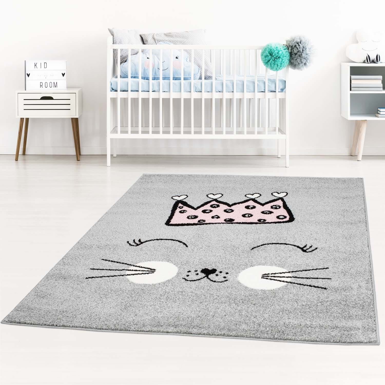 DomTextilu Sivý koberec pre deti roztomilá mačička 42039-197470