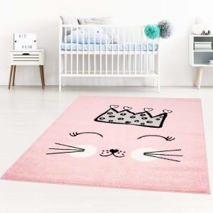 Detské koberce pre dievčatá ružovej farby s roztomilou mačikou