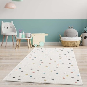 Detský koberec krémový s farebnými bodkami