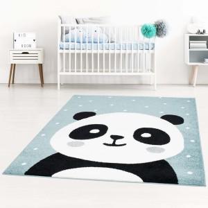 Modrý detský koberec pre chlapca rozkošná panda