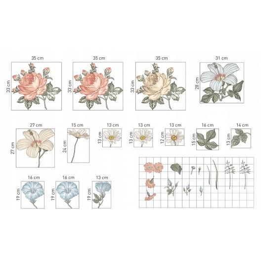 Krásna vintage nálepka kvety 100 x 72 cm