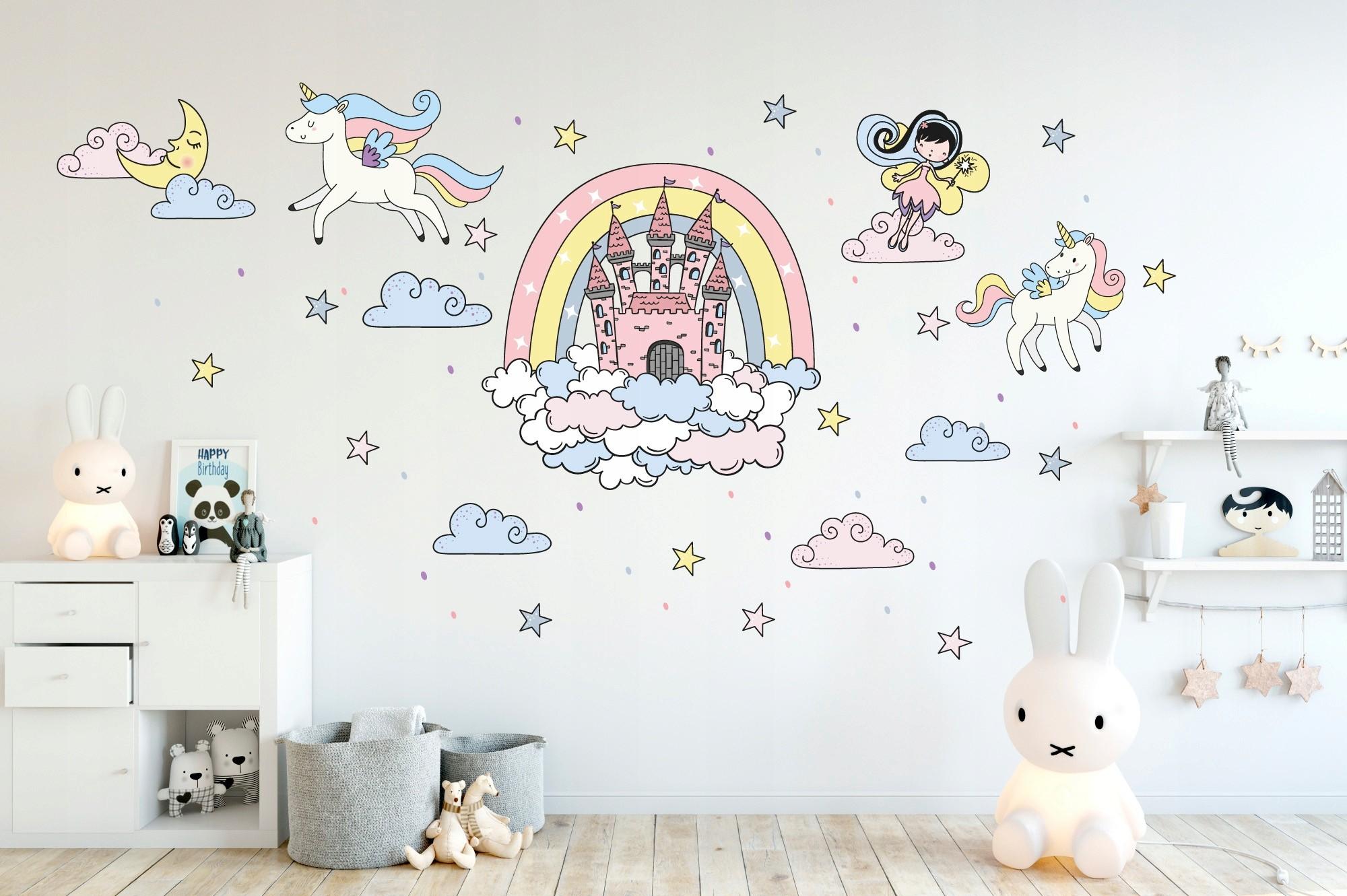 DomTextilu DomTextilu Rozprávková nálepka na stenu pre dievčatko víla a jednorožec 42085