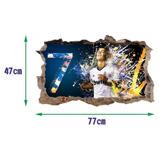 Dekoračná 3D nálepka na stenu Cristiano Ronaldo 47 x 77 cm