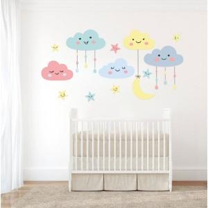 Nálepka na stenu do detskej izby mráčiky 200 x 105 cm