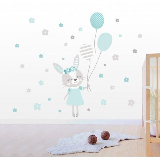 Nálepka na stenu pre dievčatko zajačik 92 x 55 cm
