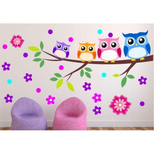 Krásne nálepky do detskej izby múdre sovičky