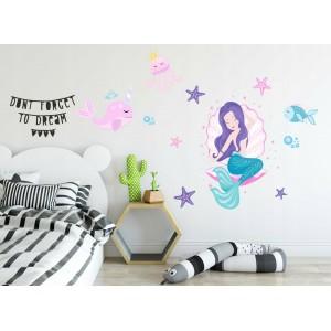 Rozprávková nálepka na stenu malá morská panna 60 x 120 cm
