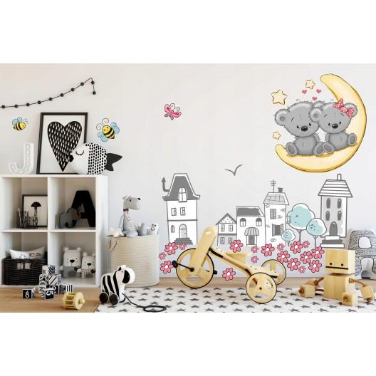 Dekoračná nálepka do detskej izby rozprávková krajinka 60 x 120 cm