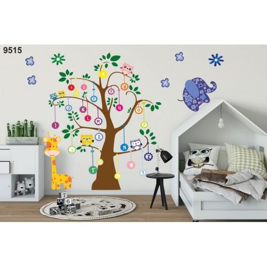 Úžasná nálepka na stenu pre deti abeceda na strome