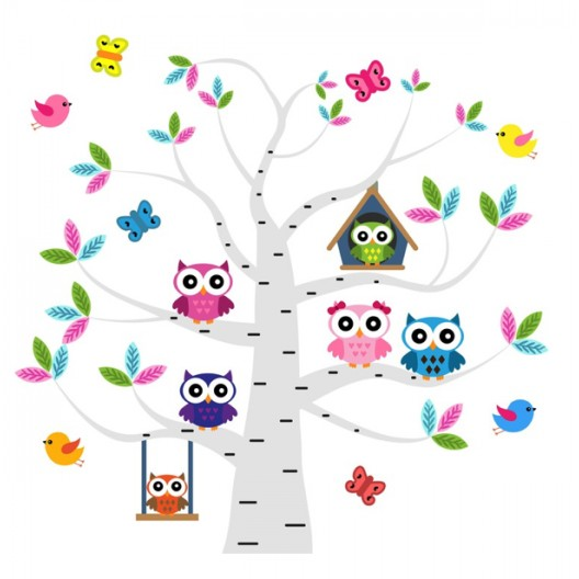 Rozkošná nálepka do detskej izby sovičky na strome