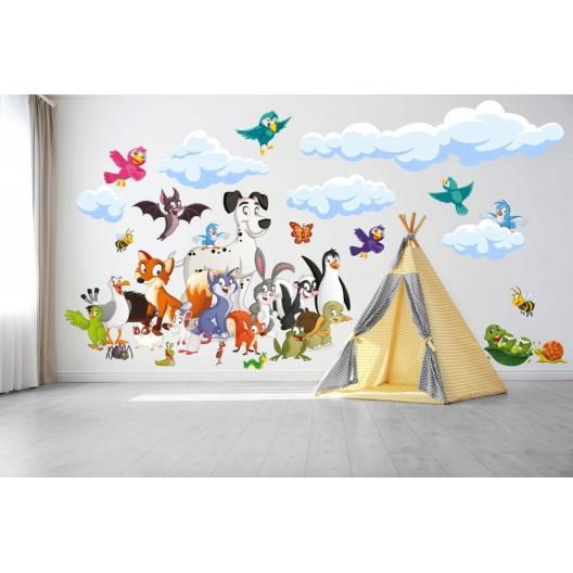 Veselá detská nálepka na stenu zvieratká 60 x 120 cm