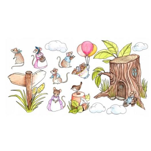 Rozkošná detská nálepka na stenu myšia rodinka