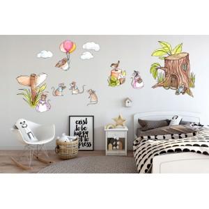 Rozkošná detská nálepka na stenu myšia rodinka 60 x 120 cm