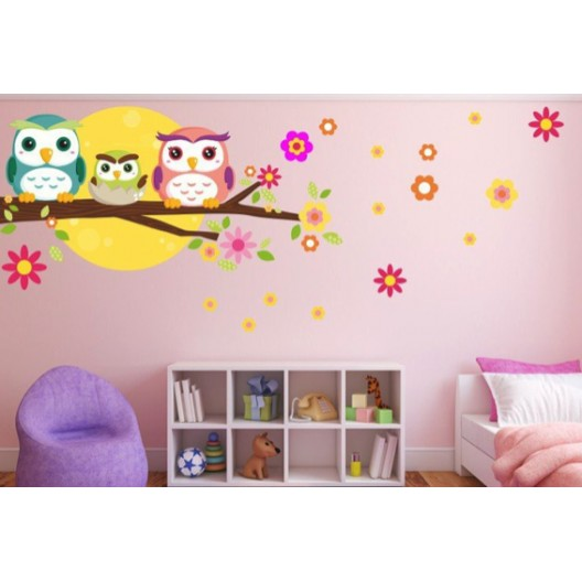 dekoračná detská nálepka na stenu sovia rodinka 60 x 120 cm