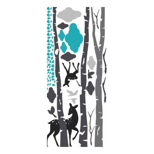 Detská modrá nálepka na stenu srnky 240 x 380 cm