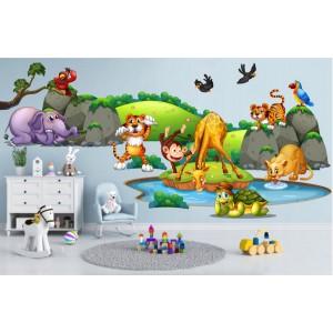 Krásna farebná nálepka do detskej izby safari 80 x 160 cm