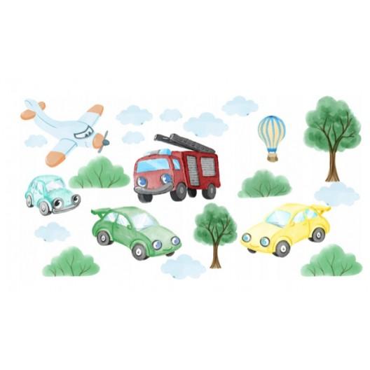 Originálne detské nálepky na stenu dopravné autá