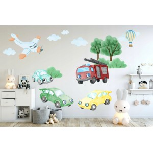 Originálne detské nálepky na stenu dopravné autá 100 x 200 cm