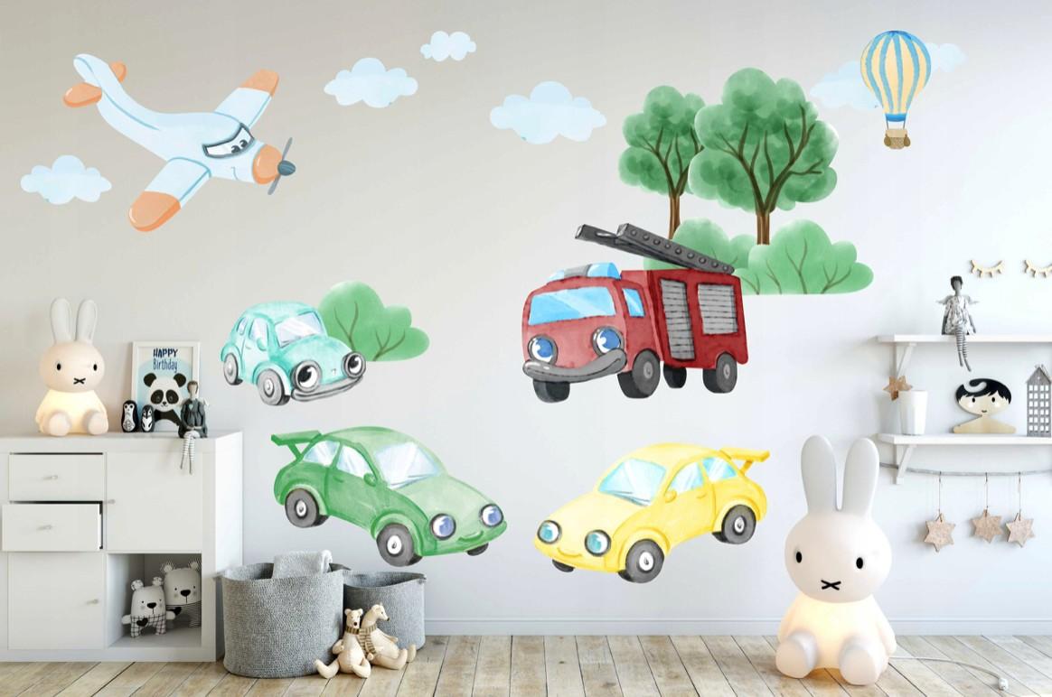 DomTextilu DomTextilu Originálne detské nálepky na stenu dopravné autá 100 x 200 cm 42115