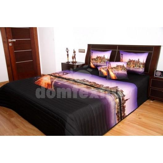 Fialový prehoz na posteľ Veľkomesto 3D 220x240