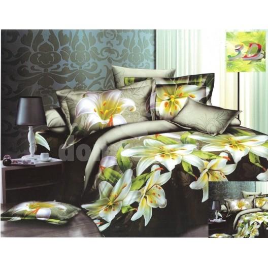 Posteľné obliečky zelenej farby s bielym kvetom