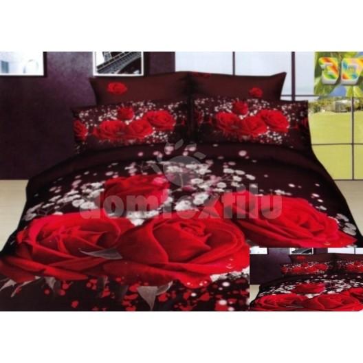 Posteľné návliečky 100% bavlnený satén s motívom červenej ruže