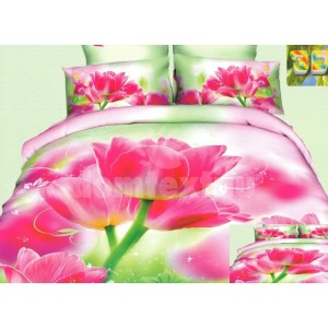 Moderné posteľné obliečky 100% bavlnený satén s ružovým kvetom